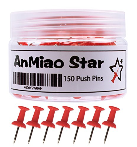 AnMiao Star Push Pins/Thumb Tacks - 150 Colorful Pushpins Per Container (Red)
