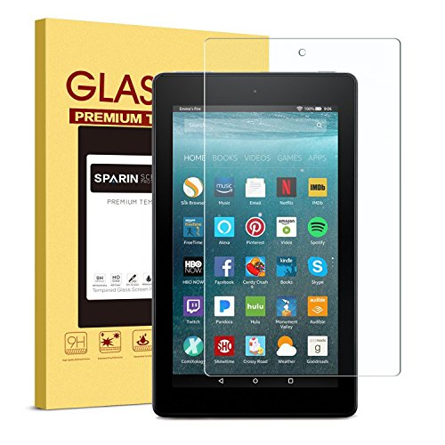 Fire 7 / Fire 7 Kids Edition Screen Protector, SPARIN Tempered Glass Screen Protector for All-New Fire 7 with Alexa (7th Gen, 2017 Release) with Bubble Free/Scratch Resistant
