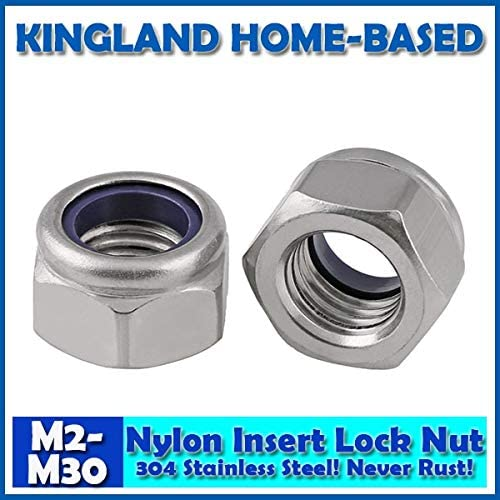 Size: M20 X 2 PCS, Color: Sliver Nuts M2-M30 DIN985 Nylon Insert Lock Nuts 304 Stainless Steel Fasteners DIY Hardware for Furniture LM006