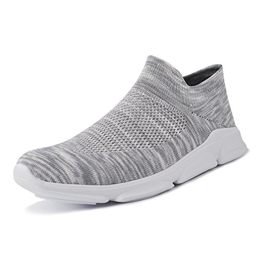 ALLY UNION MAKE FORCEMen's Women's Athletic Shoes CasualWalking Shoes Breathable Knitted Running Slip-on Sneakers Grey