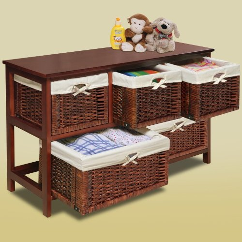 Badger Basket - Wooden Storage Cabinet with Wicker Baskets, Cherry