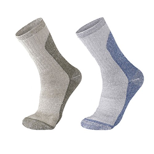 Junior Socks Trail (Wool Socks Merino crew Hiking Thick Cushioned Men size 13-15 Women 9-11(Army Green/Blue))