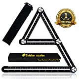 Multi Angle Measuring Ruler, Adjustable Easy Angle Ruler Set,Upgraded Aluminum Angleizer Template Tool,Precision Measurement and Accurate Protractor Multi Functional Ruler (Black)