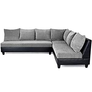 Furny Daisy Six Seater Sectional Sofa (Light Grey and Black)
