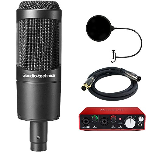 Audio-Technica (AT2035) Cardioid Condenser Microphone Bundle with Scarlett USB Audio Interface, Universal Pop Filter Microphone Wind Screen and 6ft Premier Series XLR Male - Female Cable by Audio-Technica