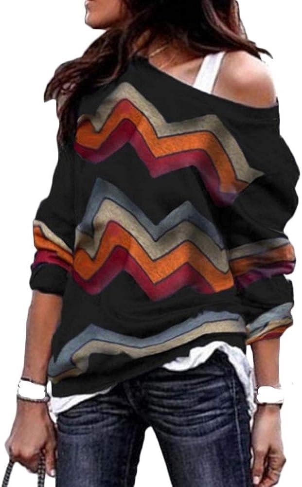 LAIKETE Pullover Scollo a Barca Donna Elegant Chic Maglia Asimmetrica Lunga T Shirt Geometria Stampa Camicetta Irregolare Felpa Monospalla Sweatshirt Autunno Inverno Blusa Tunica Maglietta Top