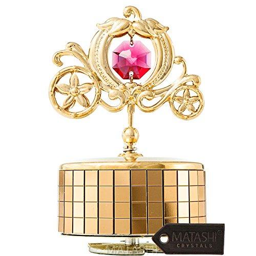 Matashi 24k Gold Plated Princess Carriage Music Box