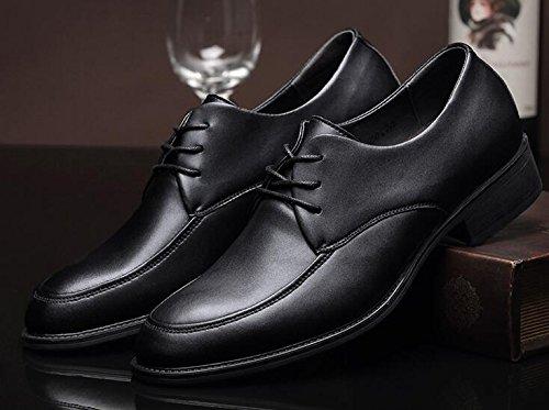 Happyshop (tm) Heren Trouwschoenen Leer Lace Up Formele Klassieke Kleding Schoenen Zakelijke Lederen Schoenen Zwart