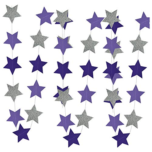 Purple Silver Birthday Party Decorations Glitter Purple Silver Star Garlands of 2pcs for Purple Bridal Shower Decorations/Purple Silver Baby Shower Decorations]()