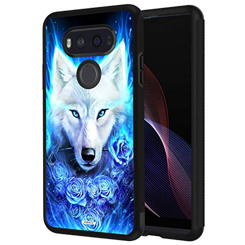 LG V20 Case, AIRWEE Slim Shockproof Silicone TPU Back Protective Cover Case for LG V20 2016 (5.7 inch),White Wolf Blue Rose ()