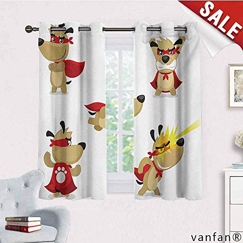 Black Out Window Curtain,Dog,Superhero Puppy with Paw Costume and Mystic Powers Laser Vision Supreme Talents,with 2 Panels,Red Cream White,W72 Xl45