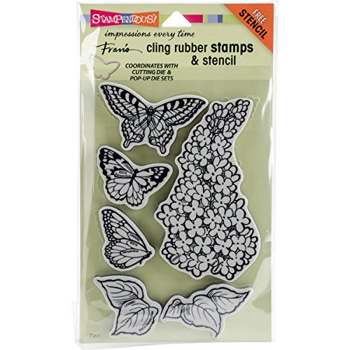 STAMPENDOUS Cling Rubber Stamp Set, Lilac W/Template