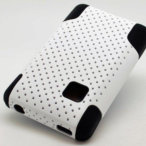White Apex Net Hybrid Gel Soft Hard Case Cover for LG 840G +Pen Stylus