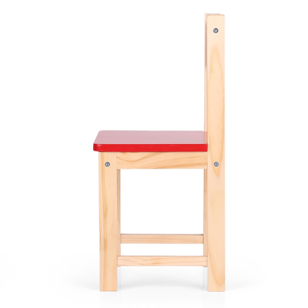 IKAYAA Wooden Kids Chair Stacking School Chair Furniture 6 Colors Available, Red