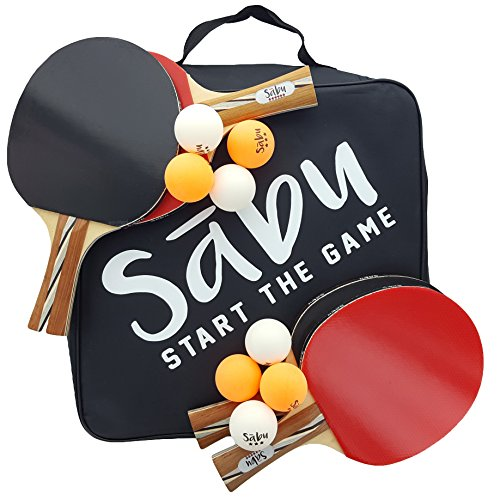 Discover Bargain Ping Pong Paddle Set - 6 Star Performance Series - Table Tennis Racket Kit with Dur...