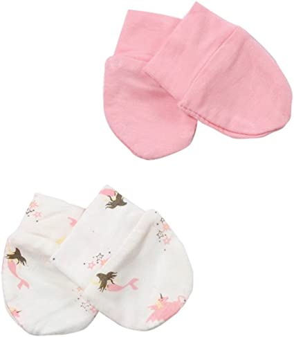 2-Packs Soft Newborn//Infant NO-Scratching Bamboo Mittens For 0-3M ONE Size