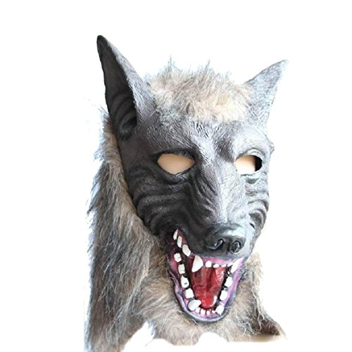 [Sandistore Mask Latex Animal Costume Prop Halloween (Wolf Mask)] (Eggshell Costume For Adults)