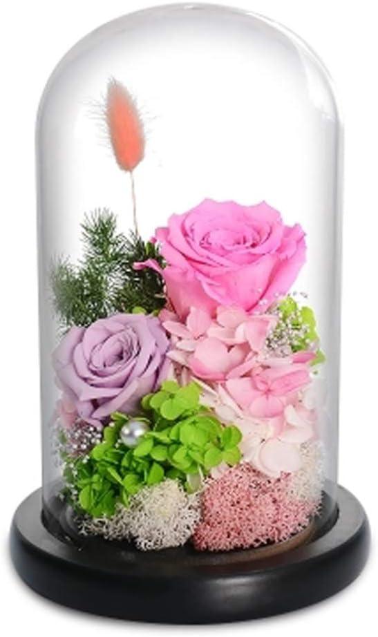 Migaven Rosa Eterna Regalos para San Valentin Flower Jewelry Caja de Regalo con Broche de Diamantes de Imitaci/ón Tarjeta de Felicitaci/ón para Mujer Su Novia Aniversario San Valent/ín Azul