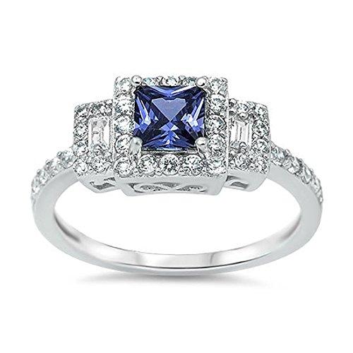 (Blue Apple Co. 3 Stone Halo Wedding Ring Princess Cut Simulated Tanzanite Radiant Cut Round CZ 925 Sterling Silver)