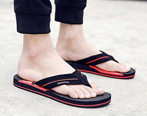 Cattior Mens Sommaren Cool Tofflor Flip Flops Strand Sandaler Rött