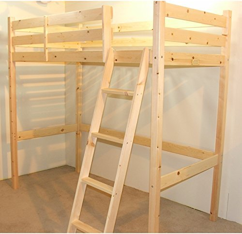 Loft Bunk Bed - 3ft single wooden high sleeper bunkbed - Ladder can go left or right - CAN BE USED BY ADULTS by Strictly Beds Celeste Loft Bunkbed