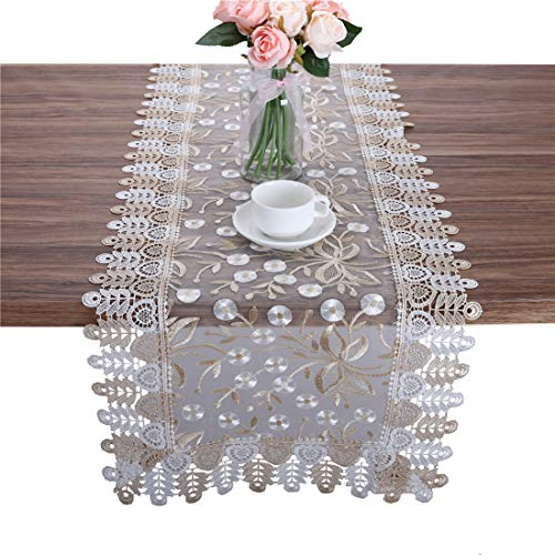 Newisher Lace Table Runner Gold White Floral Embroidered Translucent Gauze for Party Wedding Home 15 x 86 Inch -