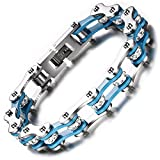BEMI Cool Style Gothic 10MM Wide Bike Motorcycle Chain Polished Stainless Steel Link Bracelet for Men Blue