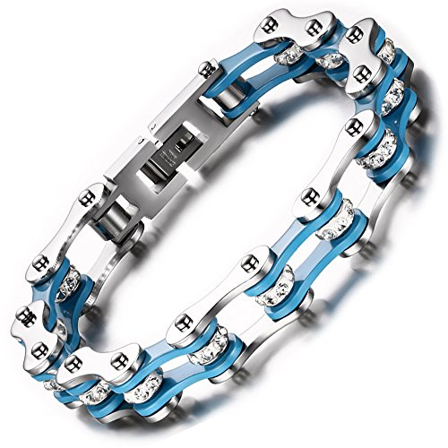 Price comparison product image BEMI Cool Style Gothic 10MM Wide Bike Motorcycle Chain Polished Stainless Steel Link Bracelet for Men Blue
