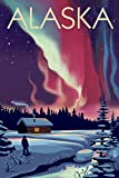 alaska painting - Alaska - Northern Lights and Cabin (12x18 Art Print, Wall Decor Travel Poster)
