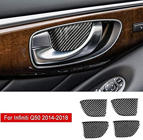 Car Accessories Pcmos Real Carbon Fiber Inner Gear Shift Knob Cover Trim for Infiniti Q50 2014-2015-2016-2017-2018 Protect Interior Stickers Name 13