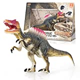 KidzLand Realistic Dinosaur Toy Spinosaurus Animal Figure with Moving Parts Plus Fact Card, Collect Them All