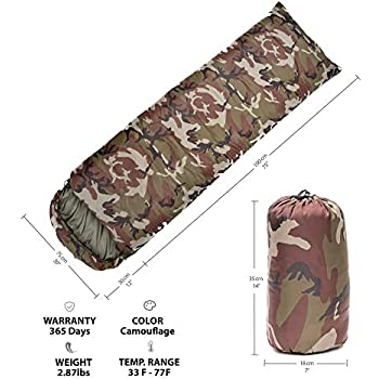 CM&A Camouflage Sleeping Bag - Lightweight and Compact for Camping, Hiking, Backpacking for Adults & Kids- 3 Season Warm Military Sleeping Bag