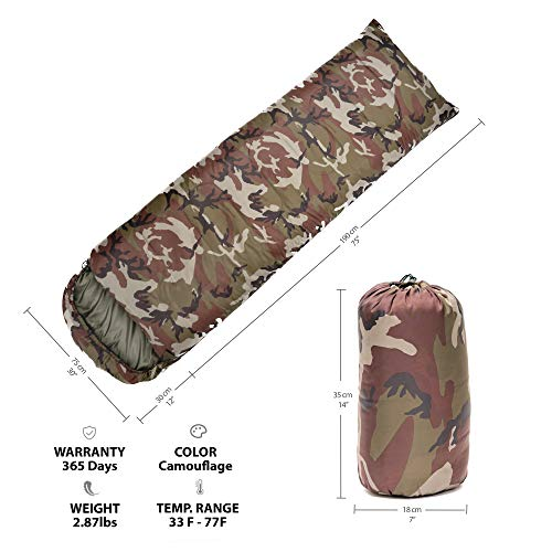 Camouflage Sleeping Bag For Boys (Camouflage Sleeping Bag Indoor & Outdoor Use - Compact for Camping, Hiking, Backpacking, Traveling - Great for Kids, Boys, Teens & Adults - 3 Season Camo Warm Military Sleeping)