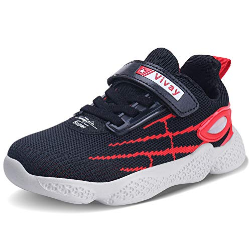 Vivay Kids Boys Sneakers Lightweight Running Shoes for Toddler/Little Kid/Big Kid Black Red Size 12