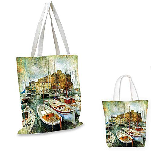 (Marine canvas messenger bag Naples Small Boats at Historical Italian Coast with Heritage Castle Nautical Artwork foldable shopping bag Multicolor. 14