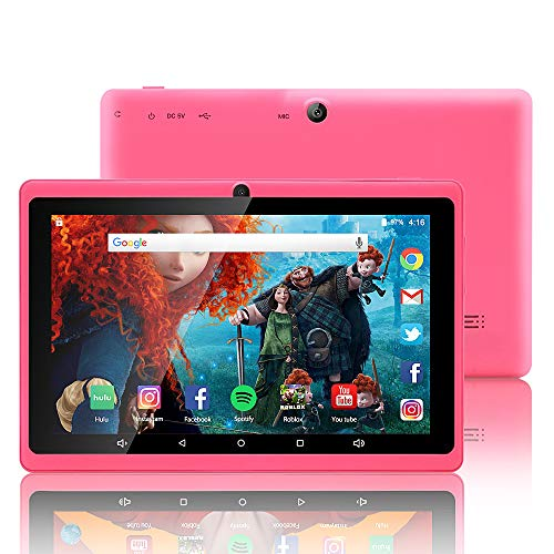 7 inch Tablet Google Android 8.0 Quad Core 1024×600 Dual Camera Wi-Fi Bluetooth 1GB/8GB Play Store Netfilix Skype 3D Game Supported GMS Certified(Pink)