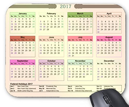 Mouse Mat 2017 Federal Holidays Calendar Printable Mouse Pad 11 8X9 8 Inxh