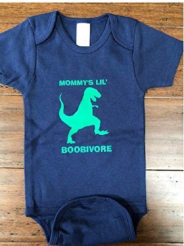 boobivore dinosaur baby one piece t-rex infant bodysuit funny breastfeeding -