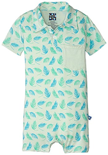 Kickee Pants Baby Boys' Print Short Sleeve Polo Romper W/Pocket Prd-kpbrp615-pfd, Palm Frond 18-24 Months