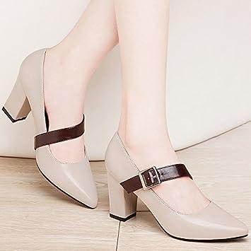 Im Frühjahr und Herbst Frauen Schuhe eine große Anzahl von einzelnen Frauen Schuhe dick mit hochhackigen Schuhe, beige 39