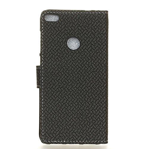 QUENJOY® UltraSlim Case Hülle für Huawei P8 Lite 2017,Dünnes Flip Cover Swivel Holster Handy Tasche mit Kartenfach und Ständerfunktion für Huawei P8 Lite 2017 (5,2 Zoll) Etui in Silber Strick Schwarz