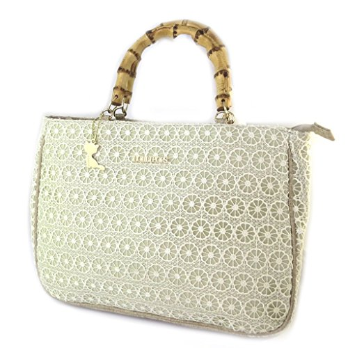 'french touch' bolsa 'Lollipops'de encaje beige - 34x24x9 cm.
