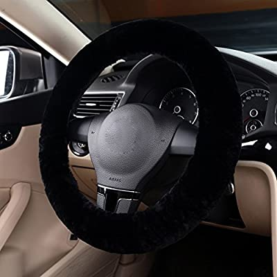 MLOVESIE Auto Car Steering Wheel Cover Fluffy Genuine Wool Sheepskin Anti-slip Universal for 15 inch: Automotive