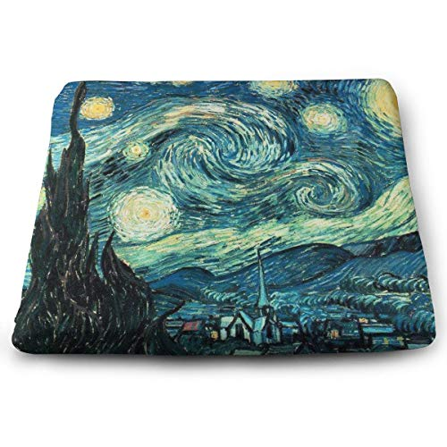 Enhanced Seat Cushion Orthopedic Chair Pillow for Sciatica & Back Pain Relief, Van Gogh Starry Night Memory Foam Cushion Multi-Use Car Office Chair Lumbar Support Cushion