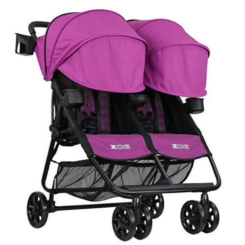ZOE XL2 BEST v2 Lightweight Double Travel & Everyday Umbrella Twin Stroller System (Eloise Plum) For Sale