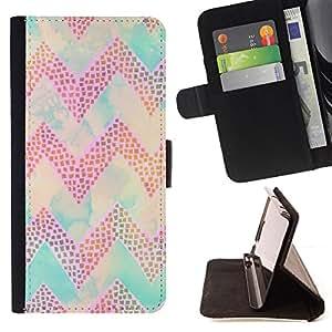 BullDog Case - FOR/Apple Iphone 6 PLUS 5.5 / - / chevron purple pattern teal sky clouds /- Monedero de cuero de la PU Llevar cubierta de la caja con el ID Credit Card Slots Flip funda de cuer