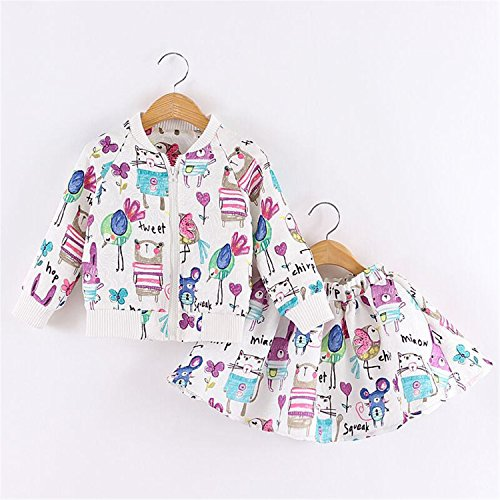 ODFAPP Adorable Spring Autumn Girls Clothing Set Cartoon Print Sets Brand Kids Outwear Animal Graffiti Baby Girl Jacket + Skirt Sports Suit 2-8Y White4T - In Tx Stores Katy