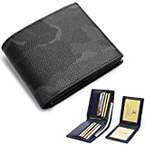 BABAMA Men's Wallets Top Quality Army Camo Leather Bifold Fashionable Slim Military Wallet Passcase with Removable ID Card Holder Camouflage Purse for Boy