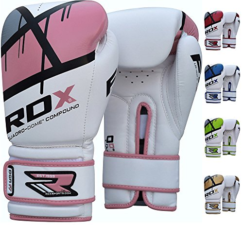 RDX Maya Hide Gel Sparring Leather Boxing Gloves, Pink, 8oz