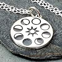 """Round Moon Phase Charm Necklace - 925 Sterling Silver, 18"""""""